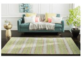 Jani Sara Green and Pink Flatweave Rug – 5′ x 8′