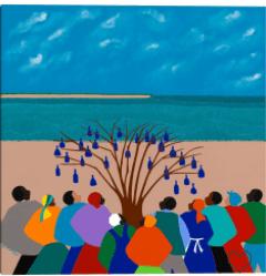 "35″"" X 35″"" BOTTLE TREE GULLAH ISLANDS BY SYNTHIA SAINT JAMES CANVAS ART PRINT – MASTERPIECE ART GALLERY"