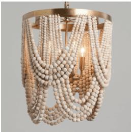 Whitewash Wood Draped Bead 4 Light Chandelier by World Market